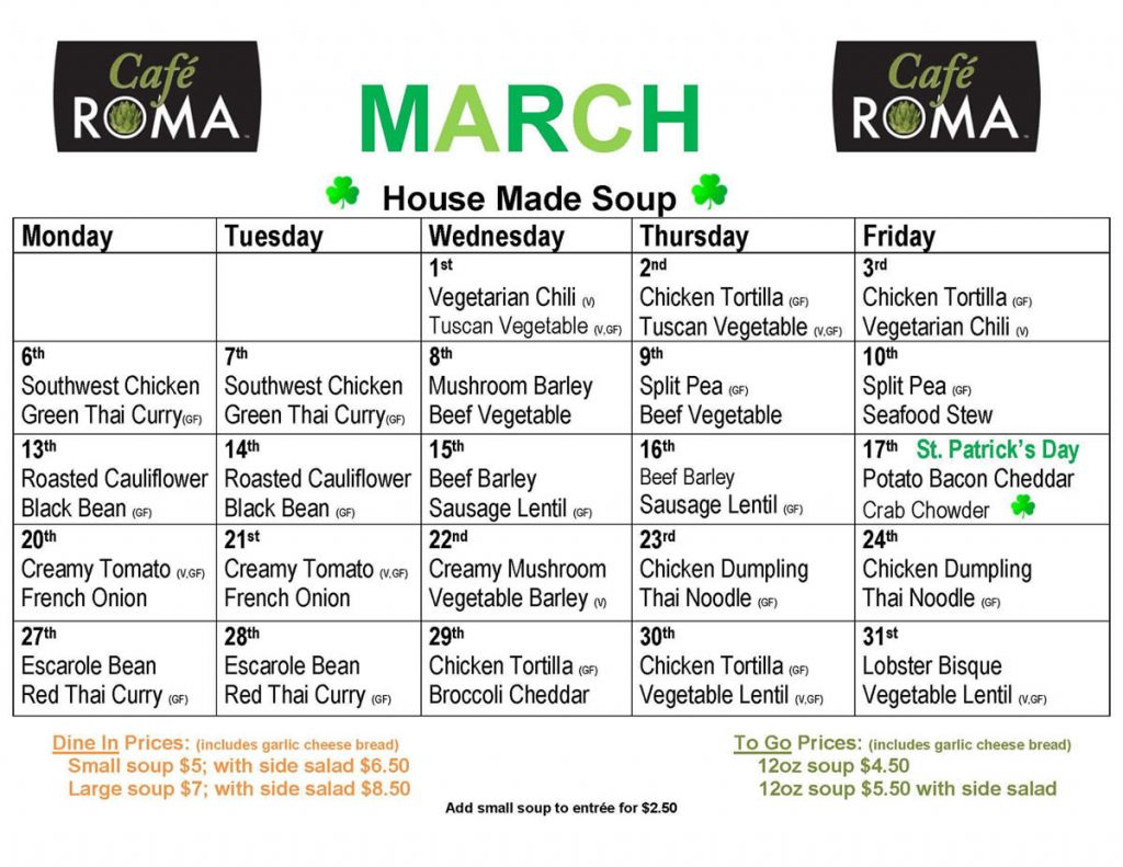 Cafe Roma March 2017 Soup Menu
