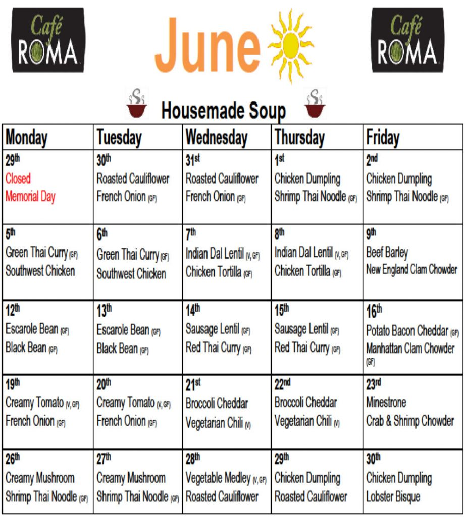 café roma june soup schedule 2017 | randall point | pancor