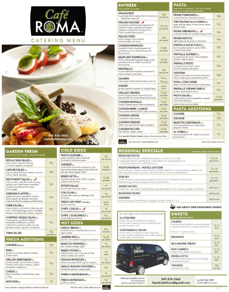 cafe roma catering menu