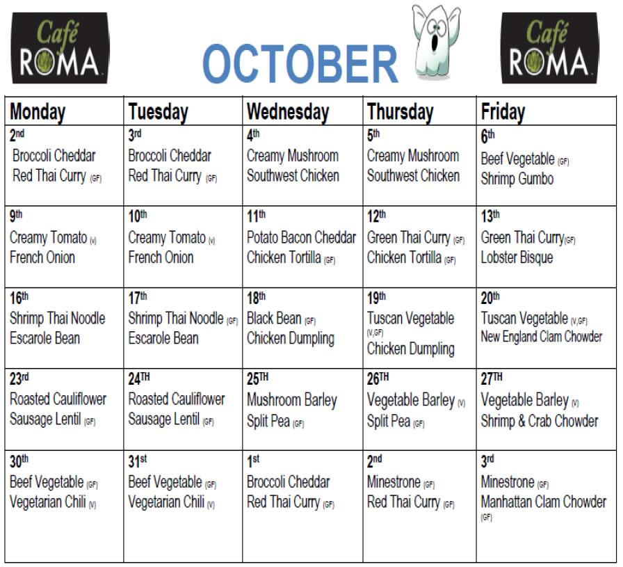Cafe Roma October Soup Menu