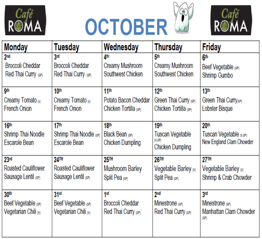 Cafe Roma October Soup Menu