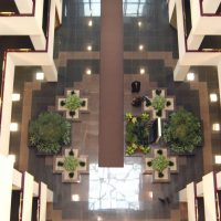 Oakbrook Terrace Corporate Center atrium from above